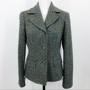 Sigrid Olsen Tweed Blazer Wool Blue & Brown Size 6
